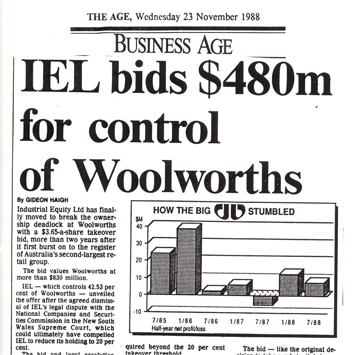 1989: Woolworths taken over by IEL
