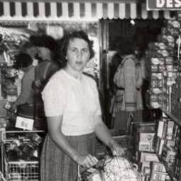 A customer with shopping 'glider' in Dee Why NSW 1957
