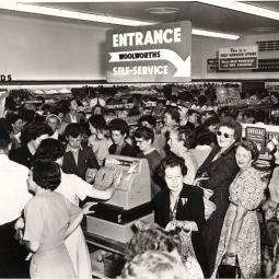 Woolworths' first 'Self-service' store, Beverley Hills, NSW on opening day